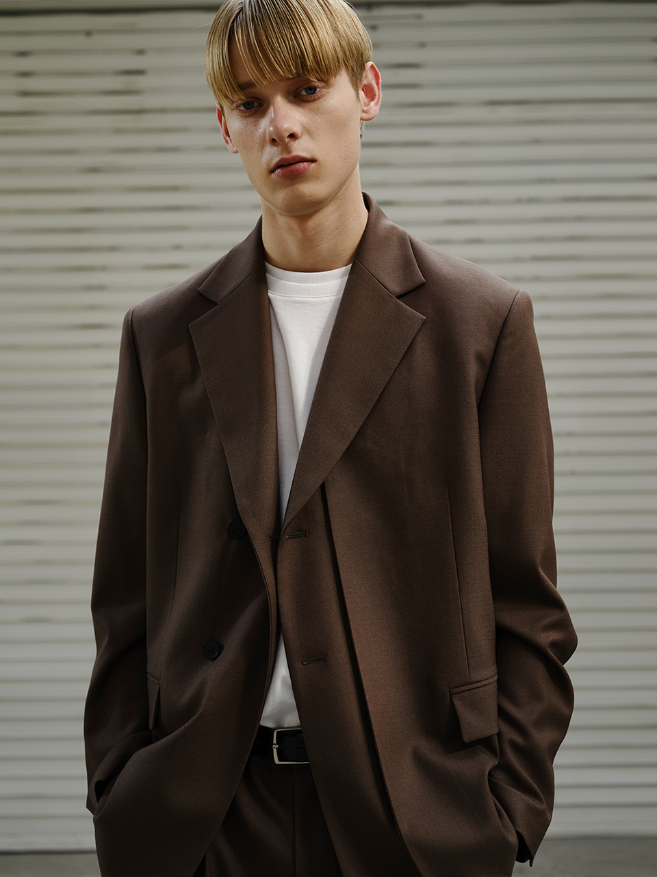 [FW20] LAYERED DOUBLE BLAZER(Brown) IEY [FW20] LAYERED DOUBLE BLAZER(Brown)