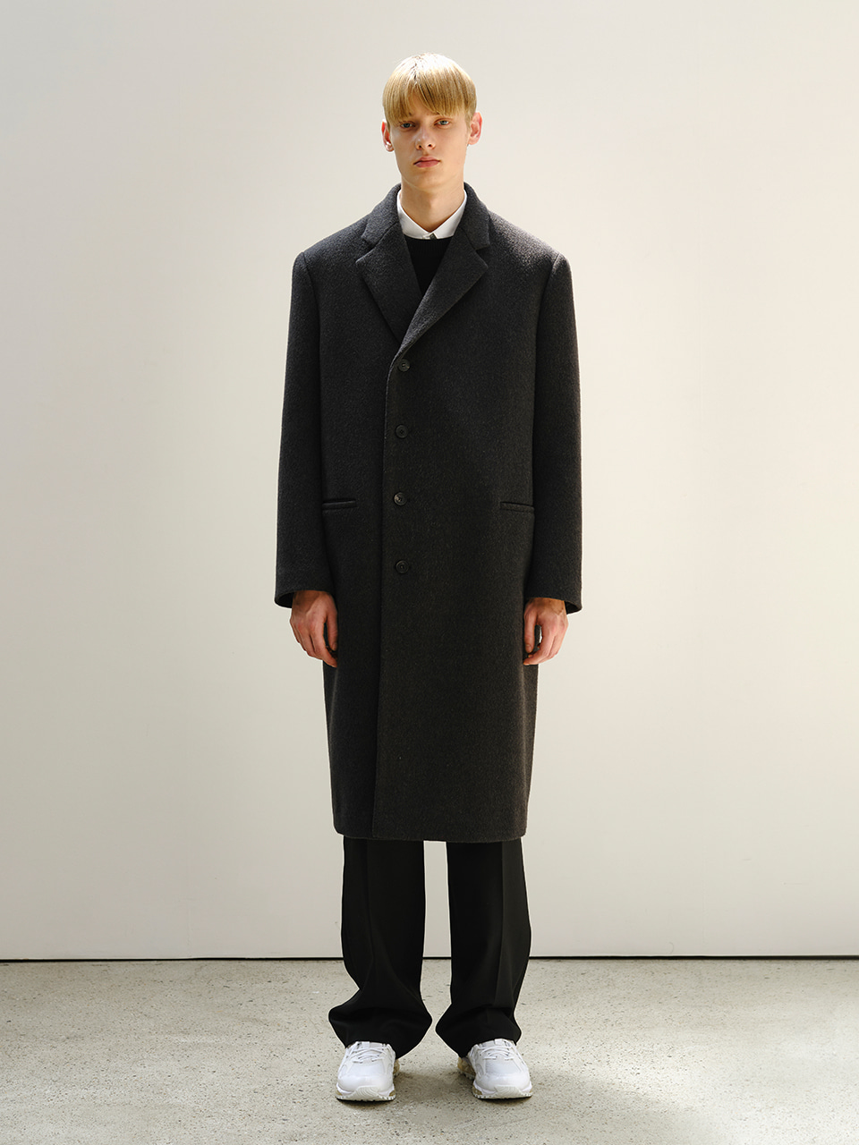 [FW20] CASHMERE 4 BUTTON SINGLE COAT(Dark Grey) IEY [FW20] CASHMERE 4 BUTTON SINGLE COAT(Dark Grey)
