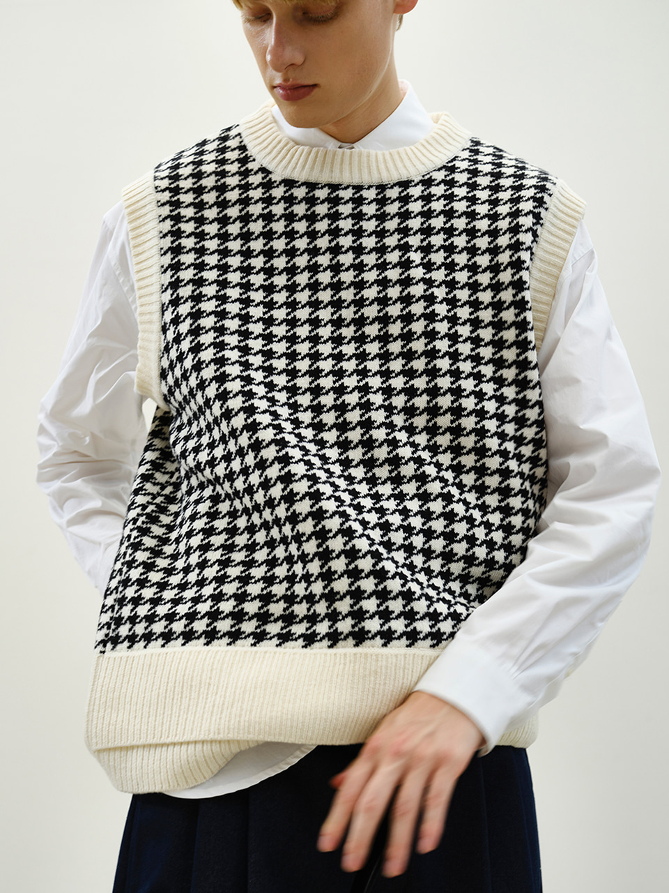 [FW20] LAYERED RIB KNIT VEST(Off White) IEY [FW20] LAYERED RIB KNIT VEST(Off White)