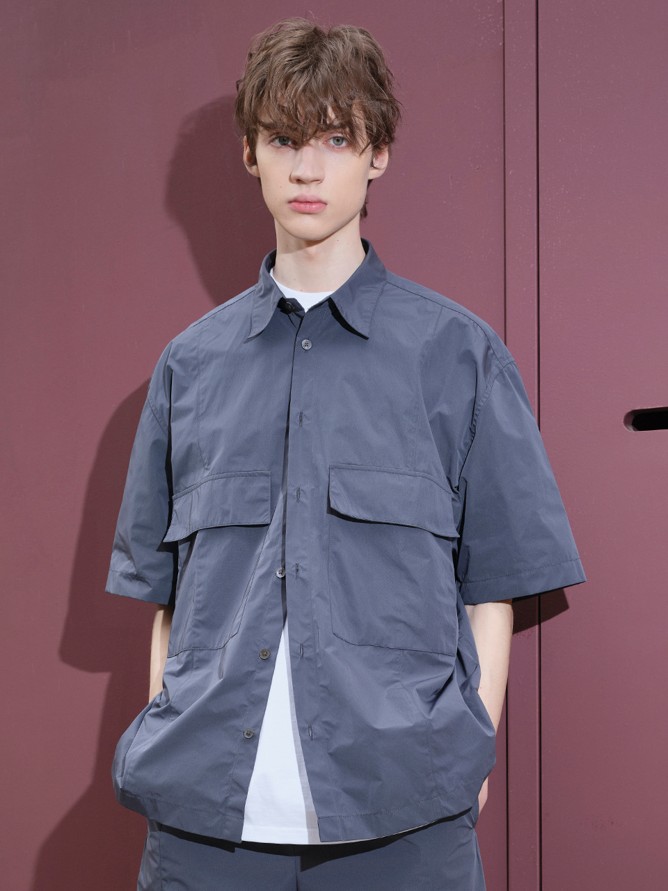 IEY  - [5/20(목) 예약배송][SM21] POLY OVER SHIRTS Charcoal Grey
