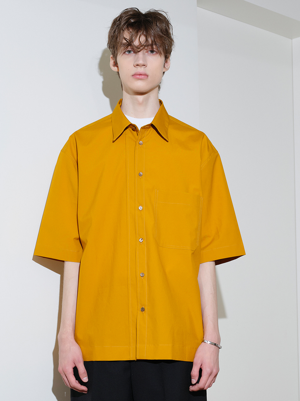 IEY  - [5/20(목) 예약배송][SM21] OVERSIZE SHORT SLEEVES SHIRTS Yellow