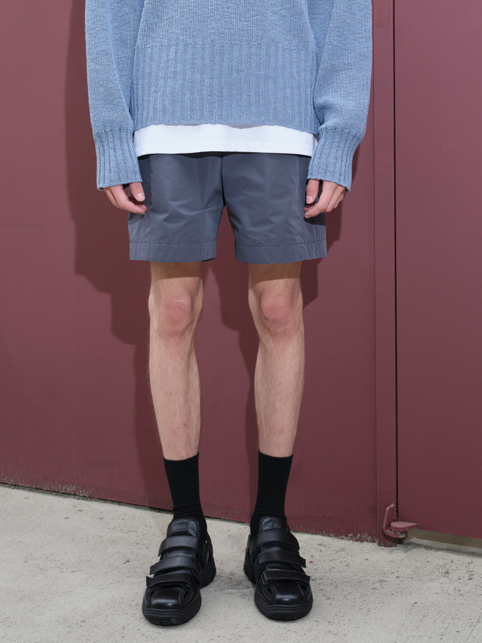 IEY  - [5/20(목) 예약배송][SM21] POLY MID SHORTS Charcoal Grey