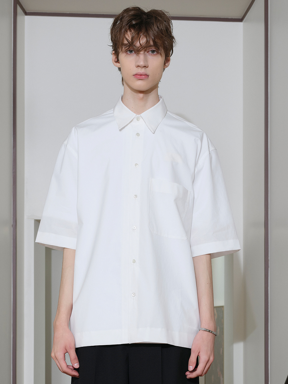 IEY  - [5/20(목) 예약배송][SM21] OVERSIZE SHORT SLEEVES SHIRTS White
